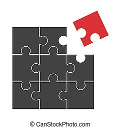 puzzle - it does not fit - black puzzle with one red part...