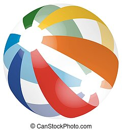 colored beach ball - beach ball in different colors with...