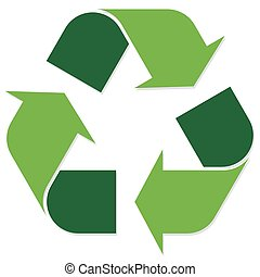 Recycling sign green - green economic recycle sign on white...