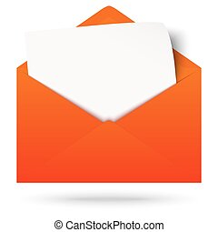 Envelope with notepad - red envelope opened with empty white...