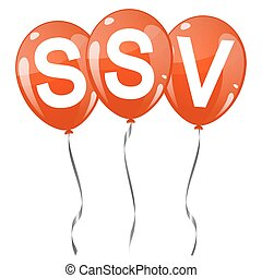 colored balloons with text SSV - three red colored flying...
