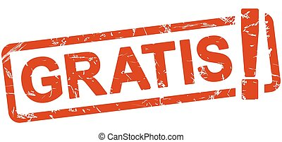 red stamp - gratis - stamp with frame colored red and text...