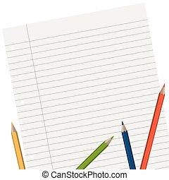 lined paper with pencils - empty lined paper with different...