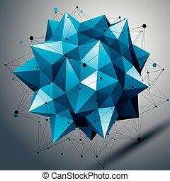 Vector complicated 3d sharp figure, modern digital...