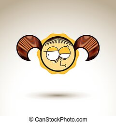 Vector hand drawn skeptic girl with fashionable hairdo....