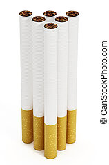 Cigarettes - Vertically placed cigarettes isolated on white...