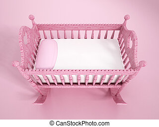 Baby crib - Wooden pink baby crib on pink background.