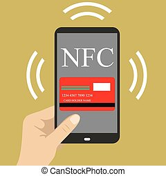 smart phone with credit card on the screen and NFC radio...