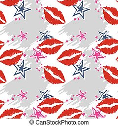 Seamless pattern red lips with stars Seamless pattern can be...