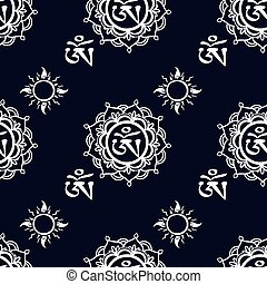 Seamless pattern with Om ornamentSeamless pattern can be...
