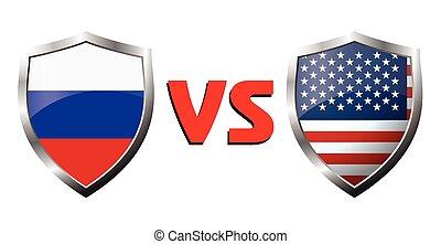 Russia vs USA flag icons theme, vector