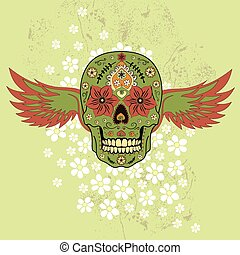 Day of The Dead colorful Skull with floral ornament and...