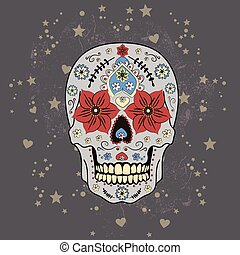 Day of The Dead colorful Skull with floral ornament, vector