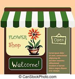 Vector   illustration flower shop.