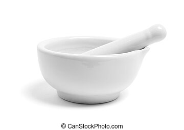 Pestle and Mortar on White Background