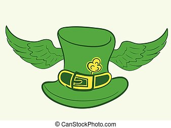Winged hat of Saint Patrick - Conceptual illustration with a...
