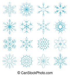 collection of blue snow flakes - collection of 16 different...