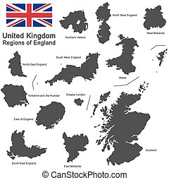 United Kingdom and regions of England - european country...