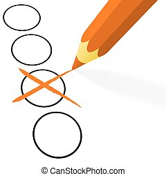 orange pencil with cross