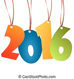 hangings new year 2016 numbers - colored hang tag numbers...