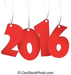 hangings new year 2016 numbers - red colored hang tag...