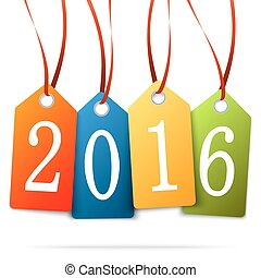 hang tags with year 2016 - colored hang tags with numbers...