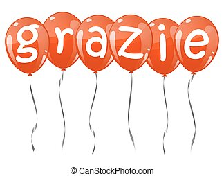 flying balloons with text GRAZIE - six flying balloons red...