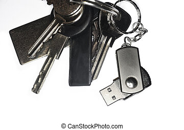 keyring with a USB keychain photographed in studio on white...