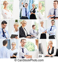 Set of photos with two business partners in different...