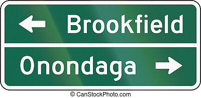 United States MUTCD guide road sign - Destination sign.