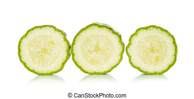 Sliced yellow zucchini isolated on the white background