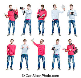 Collection of young male student being modern by taking...