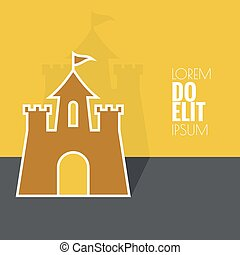 Abstract background with a medieval fortress and castle flat...