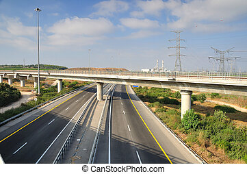 Two way highway - View of landscape with two way highway...