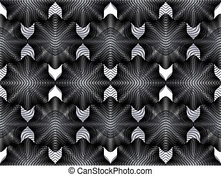 Geometric black and white stripy overlay seamless pattern,...
