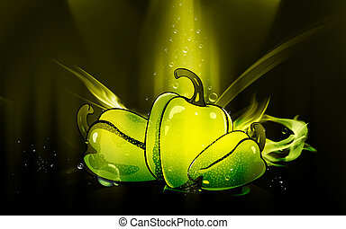 capsicum	 - Illustration of capsicum in orange background