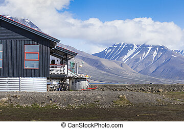 Beautiful scenic view of Longyearbyen Svalbard island,...