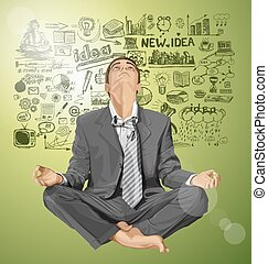 Vector Businessman in Lotus Pose Meditating - Relax concept...