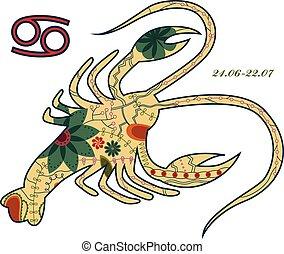 Cancer zodiac sign retro - vector illustration of Cancer...