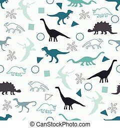Silhouettes of dinosaurs - Vector illustration Seamless...
