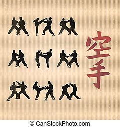 Hieroglyph of karate and men demonstrating karate