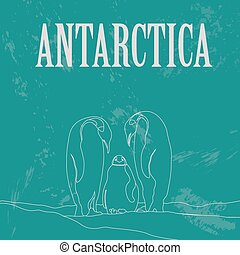 Antarctica. South Pole. Retro styled image. Vector...