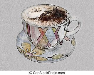 Cup coffee imitation of pencil drawing - Cup of coffee...