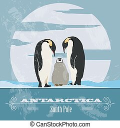 Antarctica South Pole Retro styled image Vector illustration...