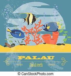 Palau Retro styled image Vector illustration