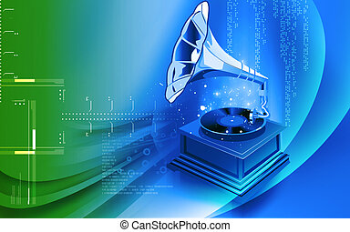 Gramophone - Illustration of a gramophone in floral...