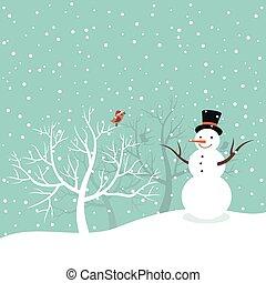 Snowman in winter