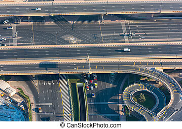Top view of highway interchange in Dubai, UAE Morning shot
