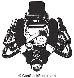 Hot Rod Engine - Silhouette of Hot Rod Engine Vector...