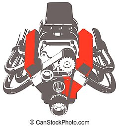 Hot Rod Engine - Silhouette of Hot Rod Engine. Vector...